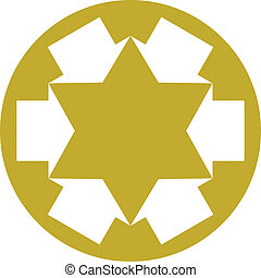 Six point star created with arrows, vector symbol.