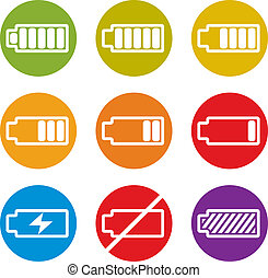 Battery charge indicator icons isolated on white background...