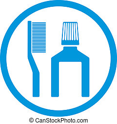 Tooth brush and paste vector icon isolated