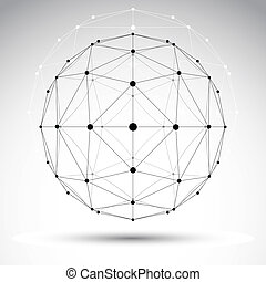 Abstract geometric 3D wireframe object, modern digital...