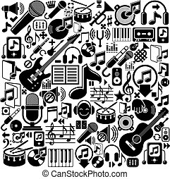 Set of musical elements, vector black isolated musical icons...