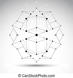 3D polygonal geometric wireframe object, vector abstract design