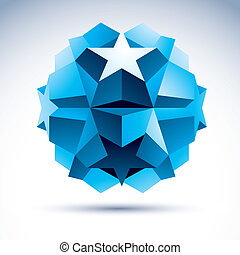 3D origami abstract object, vector abstract design element, clea