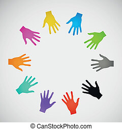 Vector flat icon hands color abstraction eps