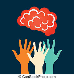Hands reaching for the brain. Vector design.
