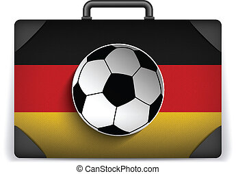 Germany Travel Luggage with Flag for Vacation - Vector -...