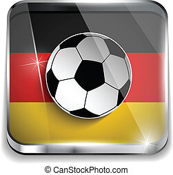 Germany Flag with Soccer Ball Background