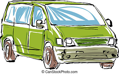 Colored hand drawn car on white background, illustration of a mi