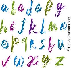 Calligraphic script font, vector alphabet letters