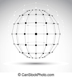 Abstract 3D origami polygonal wireframe object, vector...