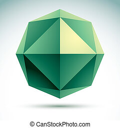 Abstract 3D origami polygonal object, vector geometric...
