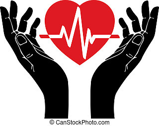 Hand with heart and cardiogram vector symbol.