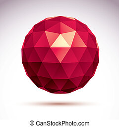 3D origami abstract object, vector abstract design element,...