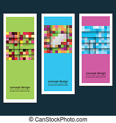 Three concept abstract color sticker squares eps