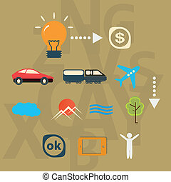 Set icons journey from idea to realization.