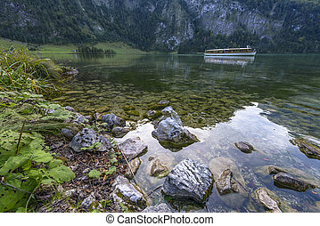 Konigssee with Ship in Autumn in Bavaria, Germany