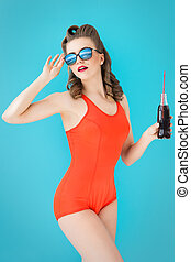 Pinup Girl in red swimsuit - Pinup, summer Attractive woman...