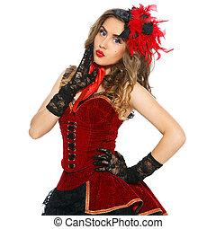 Burlesque. Attractive girl in beautiful dress - Burlesque....