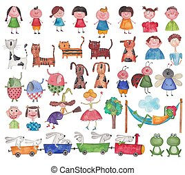 Set characters - Colorful graphic illustration for children