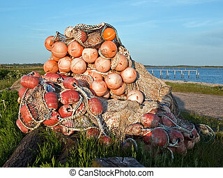 Stack of fishing nets