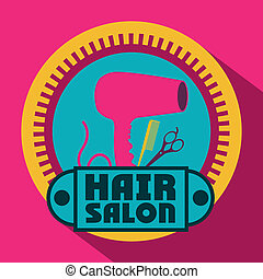 Hair saloon design over pink background, vector illustration