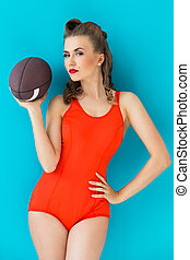 Pinup. Girl in red swimsuit - Pinup, summer. Attractive...