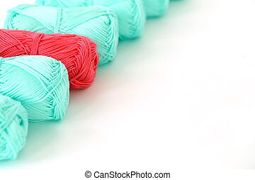 Colorful threads on the table - Knitting, close-up Blue...