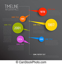 Infographic timeline report template - Vector dark...