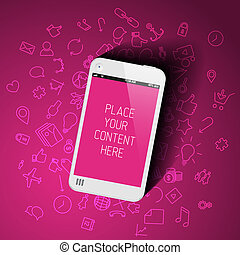 Realistic smartphone template with background icons -...