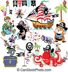 cartoon set with prates - set with cartoon animals pirates,...