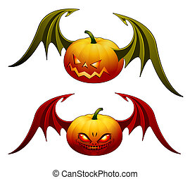 Halloween pumpkins with wings - Smiling Halloween pumpkins...