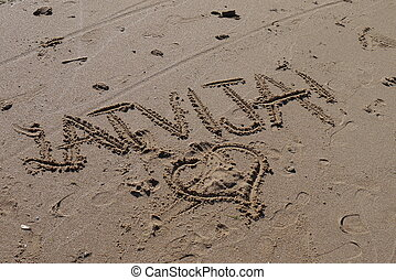 Latvia - From Latvia with love, writing on the sand