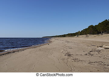 Latvian beach,Panorama of Gulf of Riga in Spring