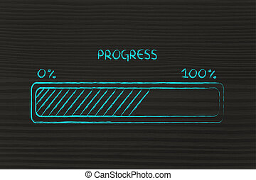 progress bar metaphor, speed up your progress - concept of...