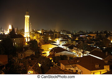 Night view of Antalya Old Town - Night view of Old Town...