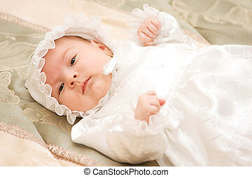 Baby girl - New born baby girl dressed for christening