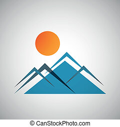 Vector mountains and sun icon