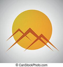 Vector mountains and sun icon