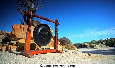 Big ancient drum used in royal ceremony at the beach on...