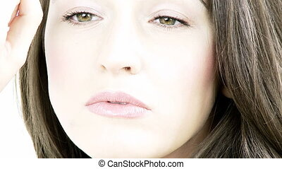 Strong closeup of fashion model - Intense closeup expression...