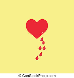 Vector heart and blood drop.