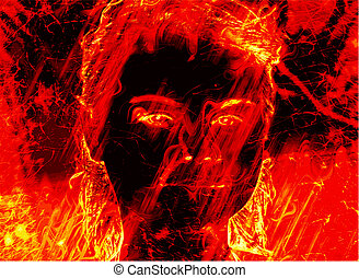 Burning abstract image of an angel of death. man on fire.