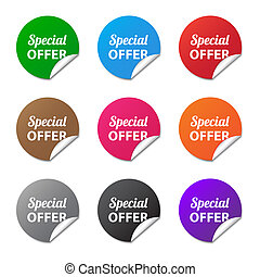 Special offer stickers in various colors