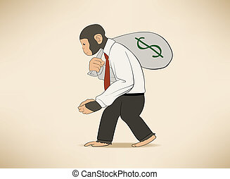 Monkey with money sack - This is an illustration of Monkey...