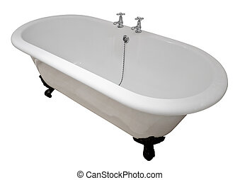 Victorian roll top bath tub - Luxury white flat rim roll top...