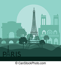 Paris design over landscape background, vector illustration
