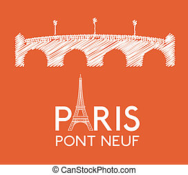 Paris design over orange background, vector illustration