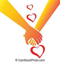 Holding hands love concept logo