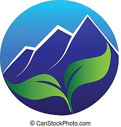 Blue mountains and leafs logo