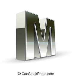 3d silver steel letter M isolated white background